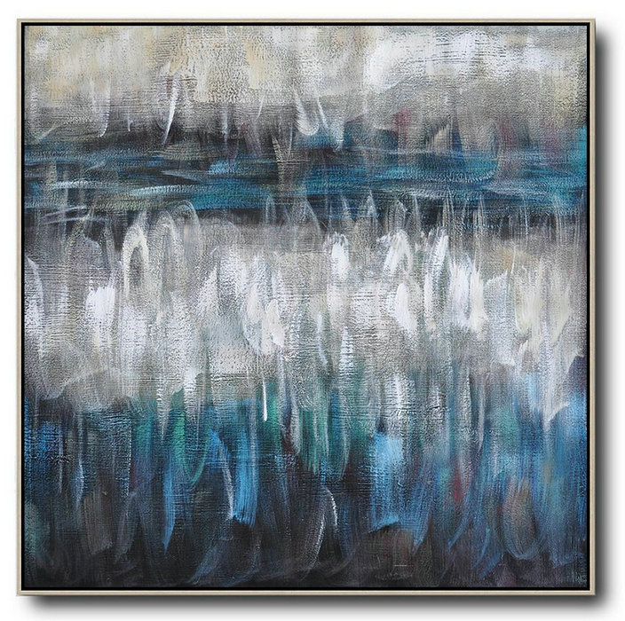 "Extra Large 72"" Acrylic Painting,Oversized Contemporary Painting,Large Abstract Art Handmade Acrylic Painting,White,Blue,Brown,Black.etc"